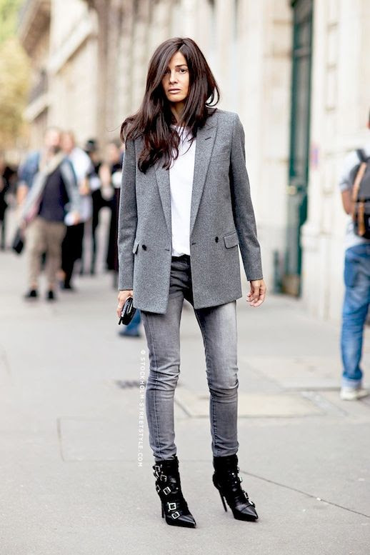 Le Fashion Blog Barbara Martelo Grey On Grey Street Style Grey Jacket Skinny Jeans Leather Buckled Ankle Boots Via Carolines Mode