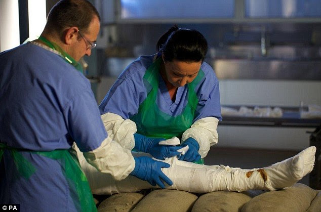 Mummified: Alan Billis becomes the first person to undergo the procedure performed here by Maxine Coe and Tim