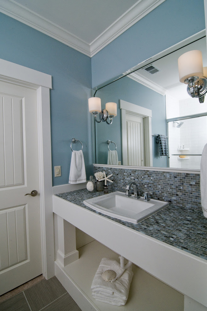 Bright Delta Dryden In Bathroom Beach Style With Van Courtland Blue Next To Van Deusen Blue Benjamin Moore Alongside Spa By Sherwin Williams Paint Color And Door Molding