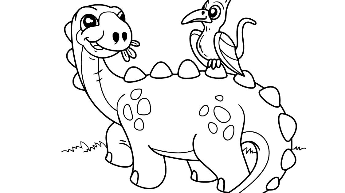 kostenlose ausmalbilder malvorlage dinosaurier einfach