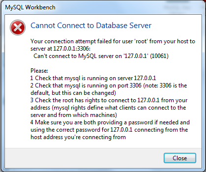 Unable to connect to the MySQL