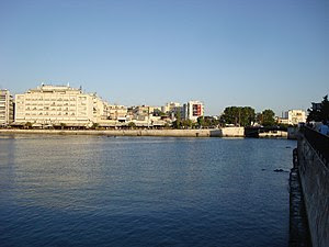 English: View of the city and the old Evripos ...