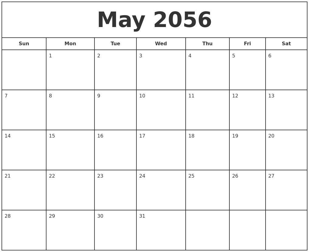 may 2056 print free calendar