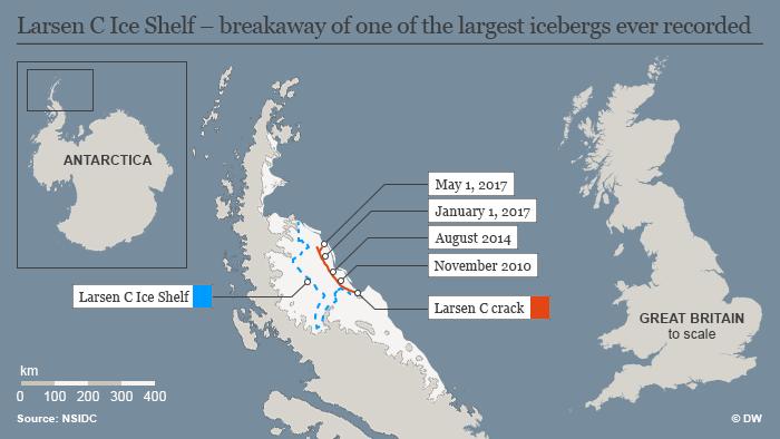 Infografik Karte Larsen C Ice Shelf – break-away of one of the largest icebergs ever recorded