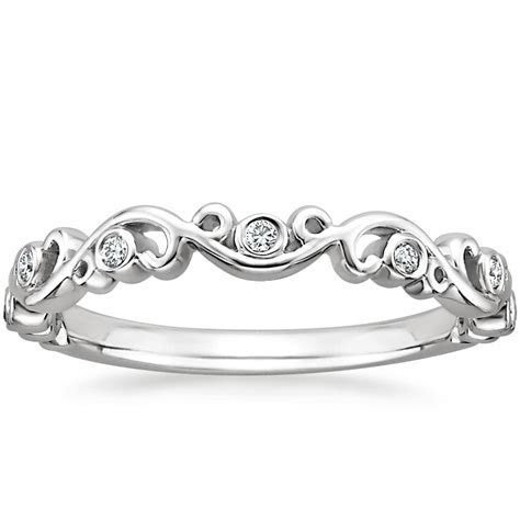 Petite Ivy Scroll Diamond Ring in 18K White Gold