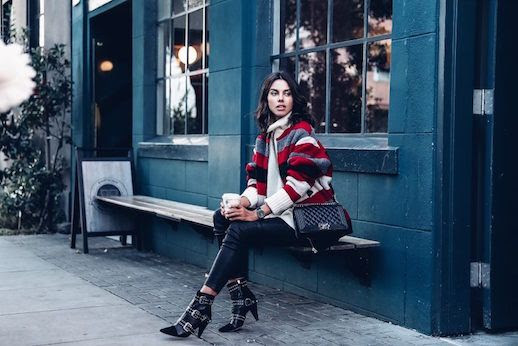 Le Fashion Blog Cream Sweater Striped Red Jacket Leather Trousers Statement Boots Via The Viva Luxury