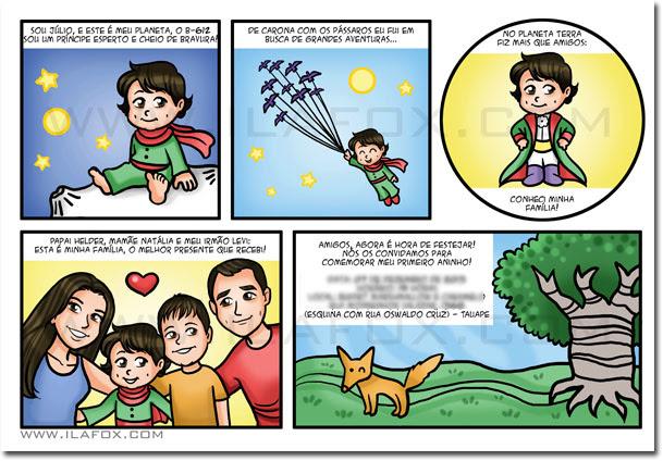 convite em quadrinhos, quadrinhos infantil, convite personalizado, convite original para crianças, pequeno príncipe, by ila fox