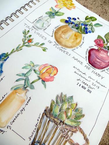 from my sketchbook ~ flower vases