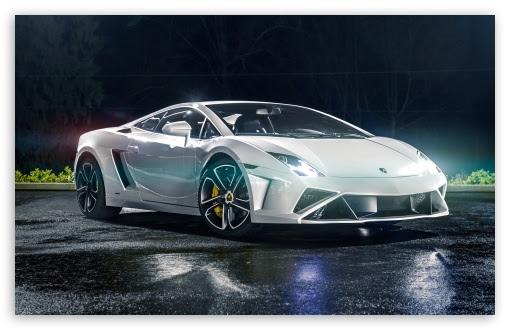 White Lamborghini Gallardo 4K HD Desktop Wallpaper for 4K Ultra HD TV • Tablet • Smartphone