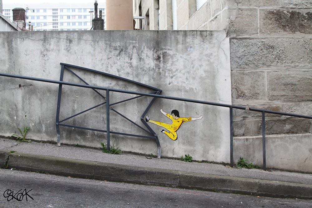 Humorous Urban Interventions on the Streets of France by OakOak street art pop culture humor