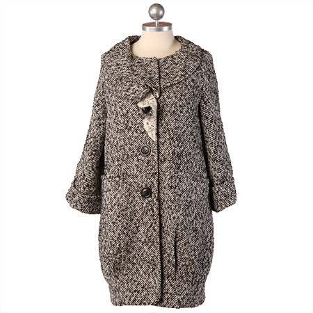 ruche_black and white city paper tweed coat