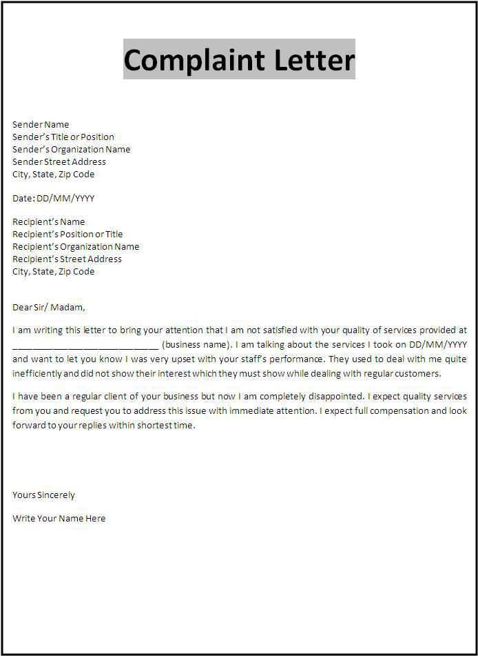 Complaint Letter Template Important Forms Formal