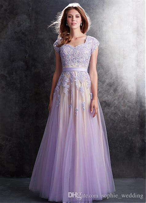 Popular Lace Tulle Modest Prom Dresses 2017 With Cap Short