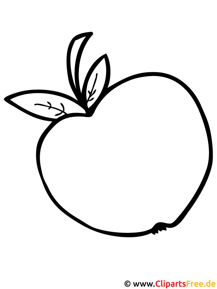 Apfel Ausmalbild - Ausmalbilder zum Ausmalen kostenlos