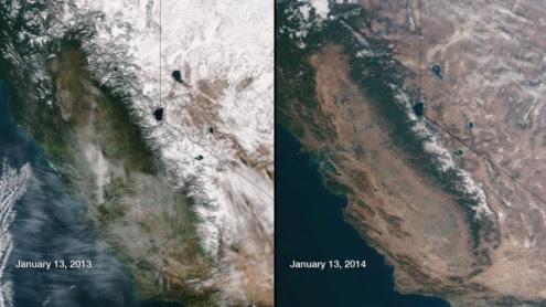 Οι συνέπειες της ξηρασίας στην Καλιφόρνια είναι ορατές ακόμη και από το διάστημα