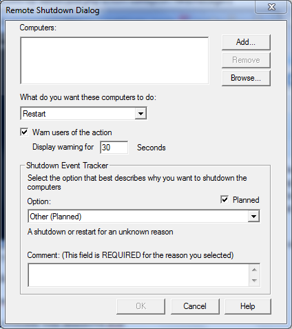 Remote Shutdown dialog box