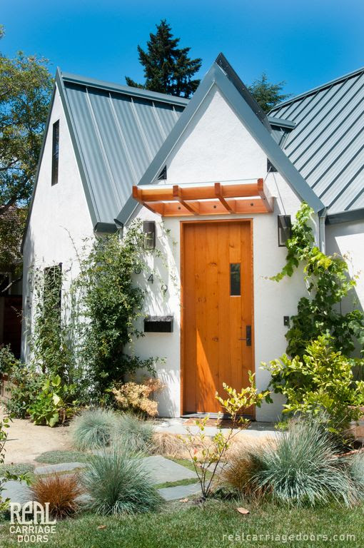 Eclectic Exterior of Home with D.C. America 2-ft 5-ft White Aluminum Attached Pergola, Fence, Glass panel door, Pathway