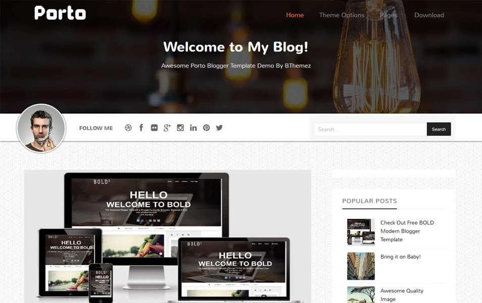 Porto Responsive Personal Blog Blogger Template