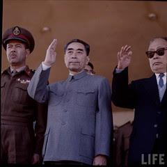 Chou En Lai in Egypt and beside General Mohamed Fawzy