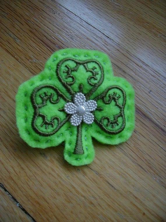Green Shamrock Felt Pin, St. Patrick's Day