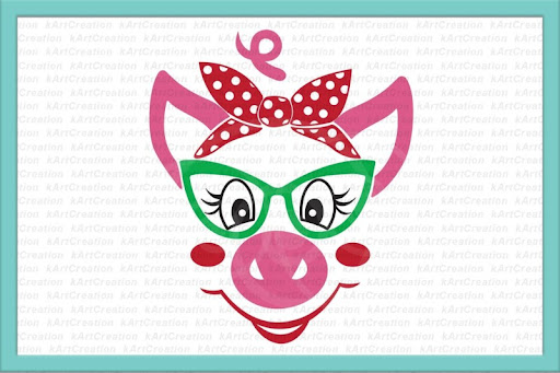 Download Free pig with glasses, svg file, pig with bandana, svg ...