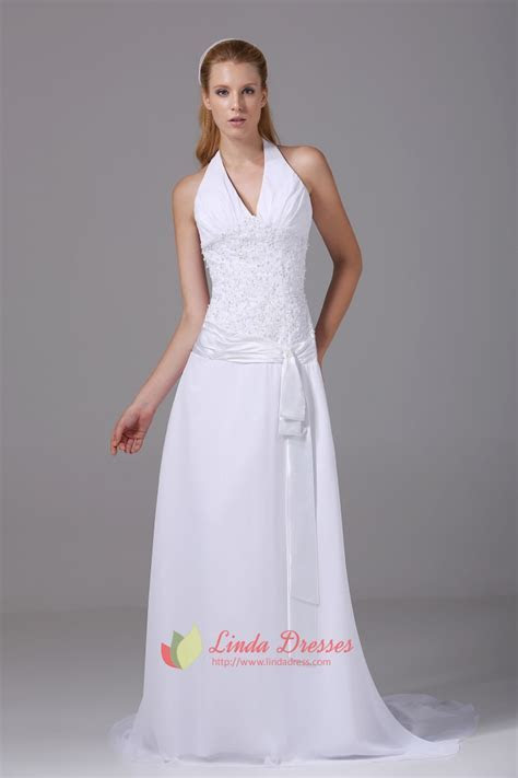 Halter V Neck Prom Gown A Line Long Beaded White Chiffon