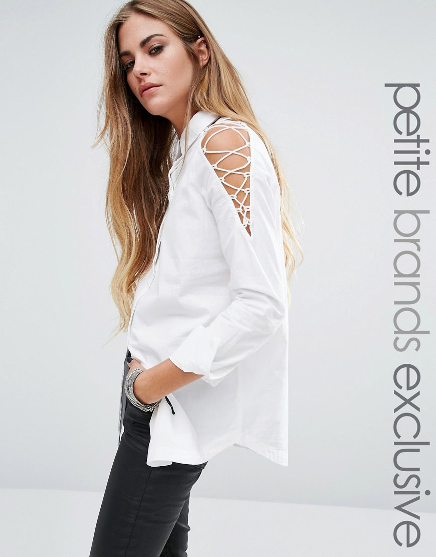 Image 1 ofNoisy May Petite Longline Shirt With Cut Out Lace Up Detail