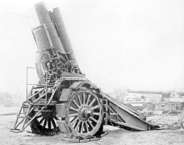 world war 1 weapons. World War 1: Krupp siege mortar. Krupp siege mortars like the one above were
