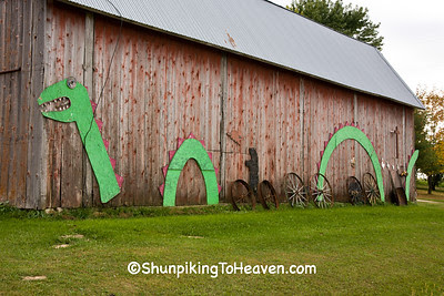 Barn with Loch Ness Monster Art, Vernon County, Wisconsin