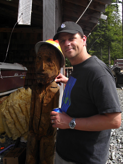 Scott with wood sculpture