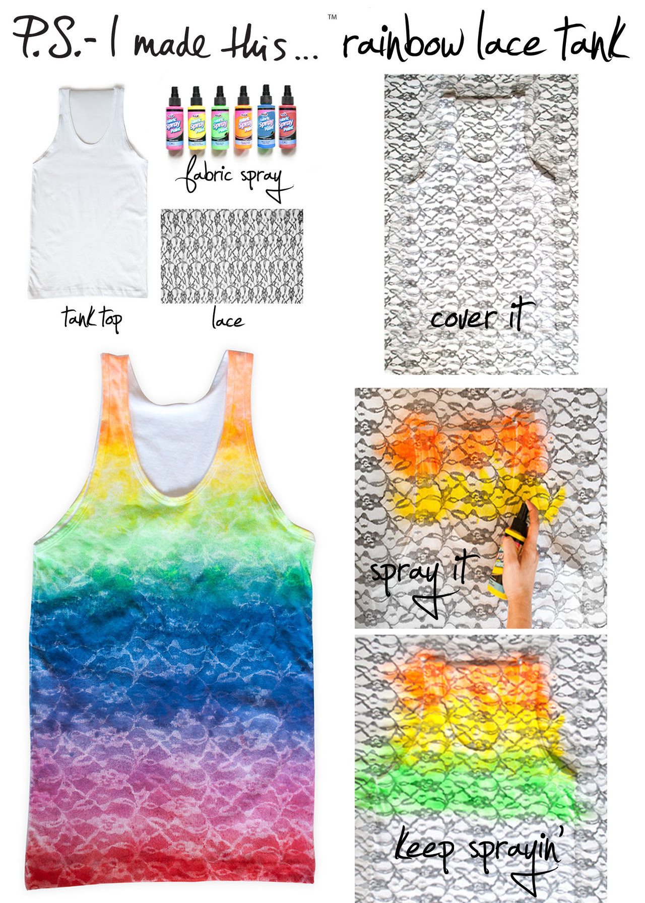 "Make your technicolor dreams come true with a DIY that takes the delicate simplicity of lace to a bold and vibrant place. The pretty prisms of Christopher Kane's Resort 2012 collection prove that going full spectrum can literally be like wearing a good mood…so get a taste of the rainbow by creating this chic tinted tank!      To create:  Use a solid white tank as the canvas.  Find lace  that has a pattern you love- there are thousands of different options to discover! You will need about 1 yard total and can re-use the lace as a stencil once dry.  Place the lace over the tank, using a colorful fabric spray  to create a ""stripe"" across the top of the tee.  P.S.- be sure to cover the surface underneath with newspaper so the surface will not get sprayed.  Continue to spray the remainder of the tank, alternating colors and slightly overlapping them to give the colors a seamless and beautiful rainbow effect."
