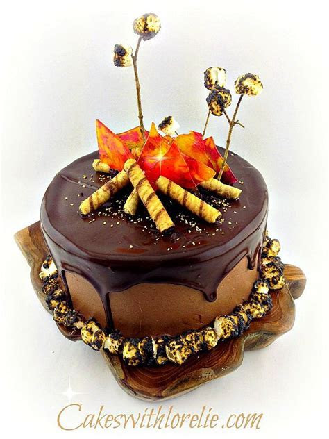 A Campfire Cake With Glowing Candy Flames And Lush Caramel