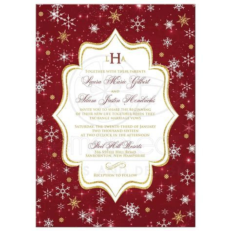 Monogrammed Wedding Invitation   Cranberry, Gold, White