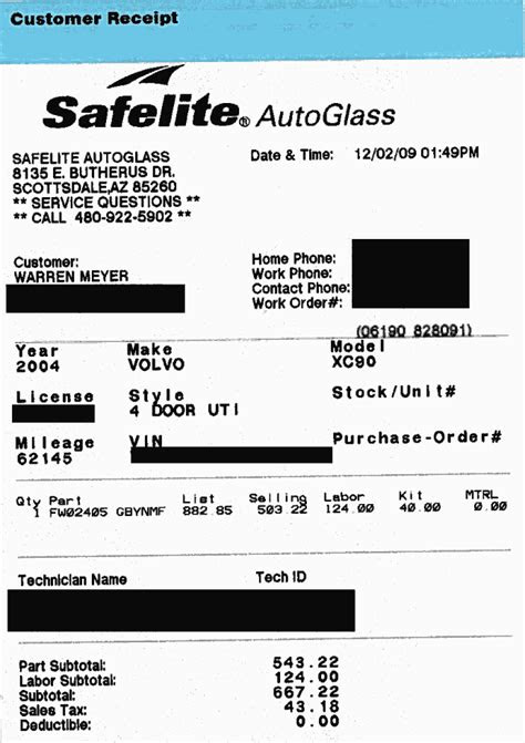 auto glass receipt template redefining monitoring