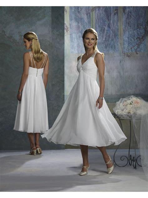 Tea Length White Wedding Dress in Empire Silhouette