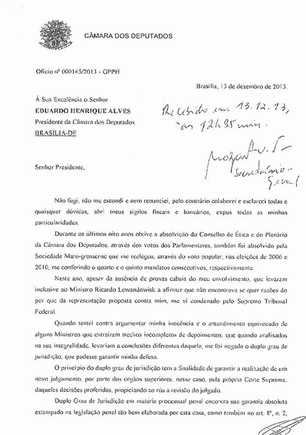 Carta de renúncia do deputado Pedro Henry encaminhada à presidência da Câmara (Foto: Reprodução)