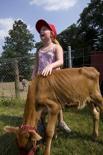 Girl and calf