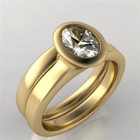 Bridal Set Oval Moissanite Bezel Solitaire Engagement Ring
