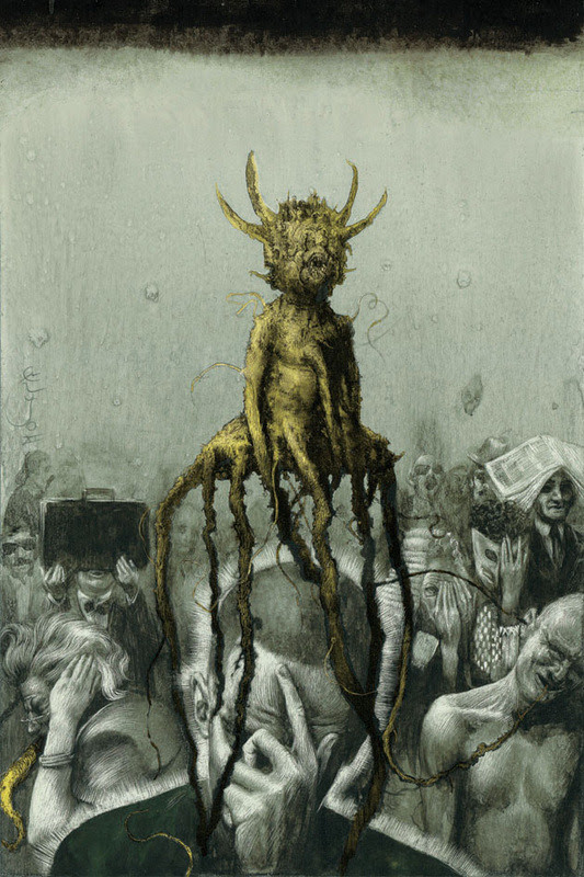 """On View: Santiago Caruso's """"Ars Obscura"""" at Last Rites Gallery   by Nastia Voynovskaya / HiFructose magazine  Last Saturday, New York's Last Rites Gallery presented Argentinian artist Santiago Caruso's first-ever US show, """"Ars Obscura: Terror y Miseria."""" A dark and enigmatic body of work, the pieces in the show were divided into three series: """"Superstition and Inquisition,"""" """"Revealers, Prophets & Liars"""" and """"Profound Shadow From the Past."""" The works in the show reference dark surrealism as well as medieval religious painting. Caruso explores the perverse elements of civilization through macabre images and occult religious symbols. Take a look at some of the works in the show after the jump, images courtesy of Last Rites Gallery, and check out the show before it closes on April 6. More» Share"""