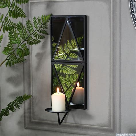 Black Wall Mirror with Candle Sconce   Melody Maison®