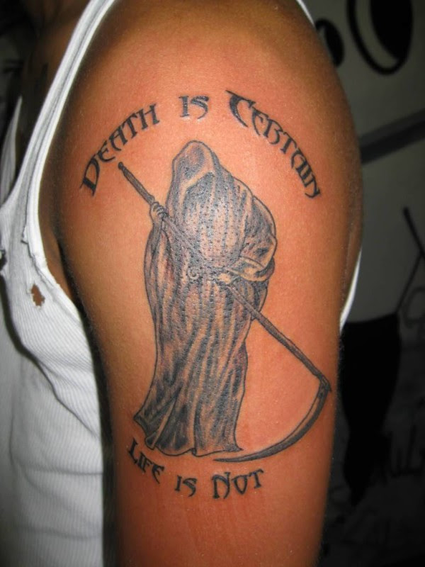 Amazing Death Is Certain Life Is Not Text Grim Reaper Tattoo Design