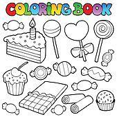 Clipart - ausmalbilder, süßigkeit, und, kuchen k7474324 ...