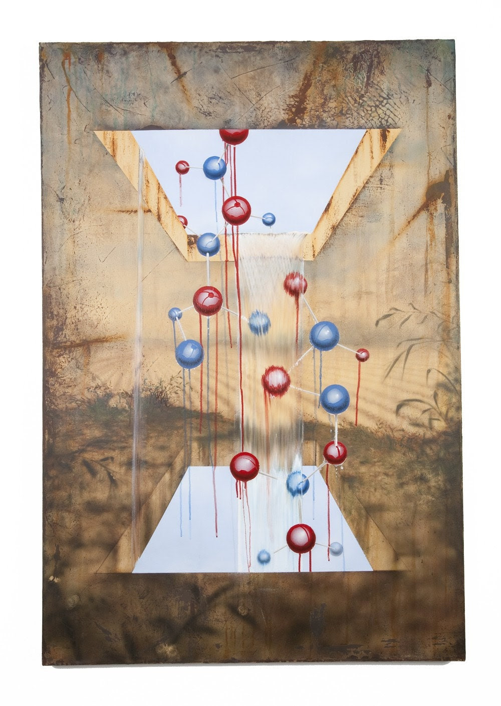 Surrealist Original Painting - Water Flowing Through Atoms - The Future Is Flowing Through My Pasture