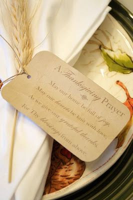 Thanksgiving Prayer Tag Decoration - May our home be full of joy. May our hearts be knit with love, as we give our grateful thanks, for Thy blessings from above. <3