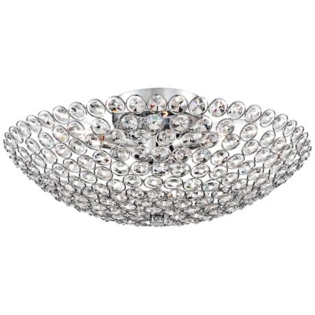 "Possini Euro Geneva 16"" Wide Crystal Ceiling Light"