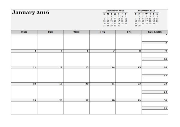2016 3 month calendar