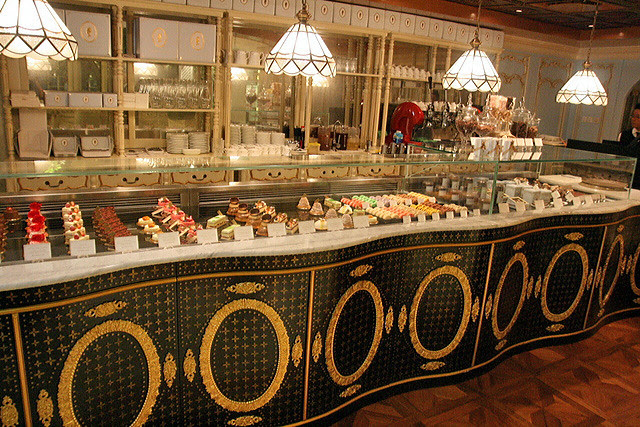 Cakes and pastries display case at Antoinette
