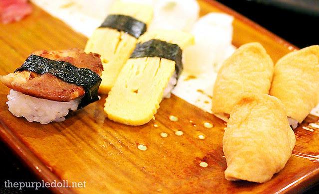 Samgyupsal, Tamago and Tofu Sushi