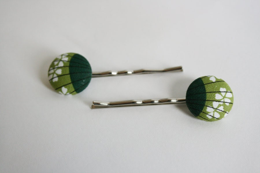 Two Tone Green Vintage Shells --- fabric button hair pins