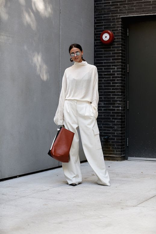 Le Fashion Blog White Turtleneck Oversized Trousers All White Via Fashion Vibe